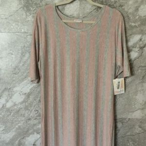 LULAROE 3XL Julia Dress Pink Gray Striped NWT
